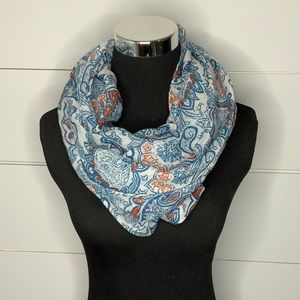 Blue and orange paisley infinity scarf